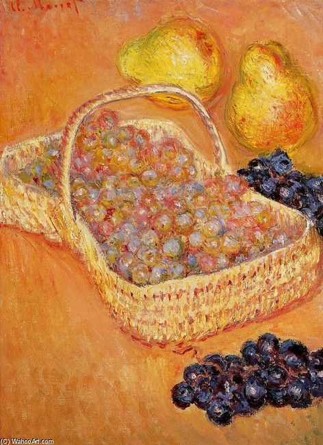Basket of Grapes, Quinces and Pears, by Monet