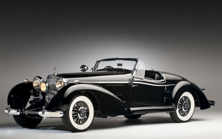 Download wallpapers Mercedes-Benz 540K, 1937, Roadster, retro cars, black cabriolet, old classic cars, Mercedes