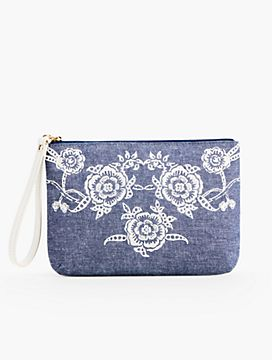 Flower Embroidered Wristlet