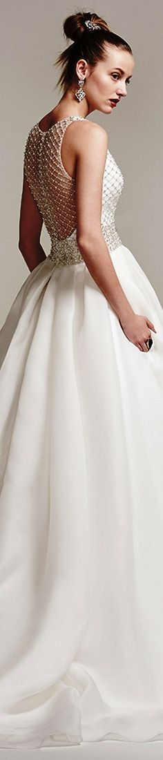 Sottero Midgley Fall 2016 bridal sleeveless deep plunging V-neck heavily embellished bodice sophiscated A-line wedding dress with pockets illusion back chapel train tamirys