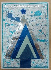 faire un fond à l'encre et aux billes sur une feuille A4 ( en garder la moitié pour autre chose) découper 4 triangles dans divers papiers de la couleur choisie par l'enfant les coller du plus grand au plus petit