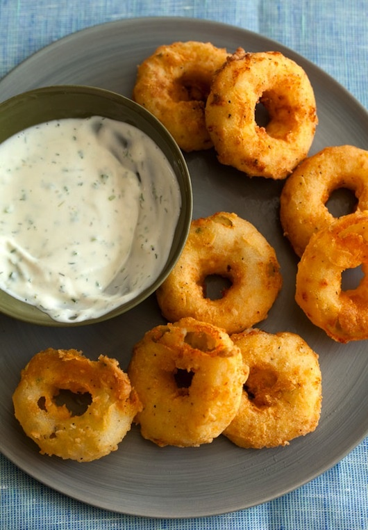 Potato Rings with Homemade Buttermilk Ranch Dipping Sauce. Looks delicious, but I'm not sure if they're worth the work.