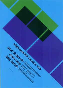 Muller-Brockmann, Josef poster: Vegh-Quartet Musica Viva (blue-green)