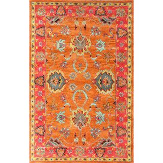 Nuloom Handmade Overdyed Traditional Wool Orange Rug 7 6 X 9