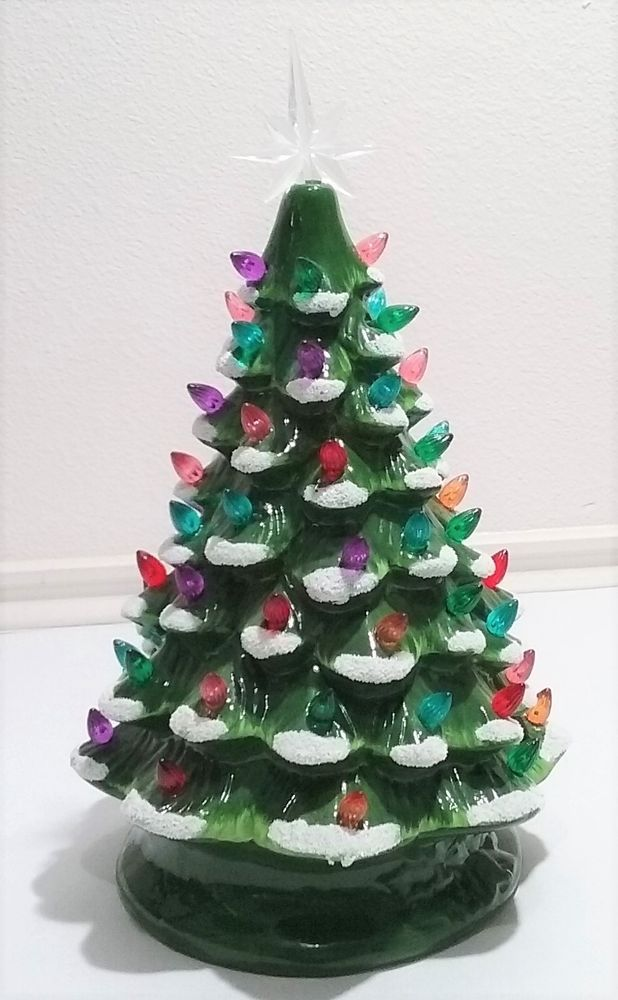 Vtg Ceramic Green White Christmas Tree 12