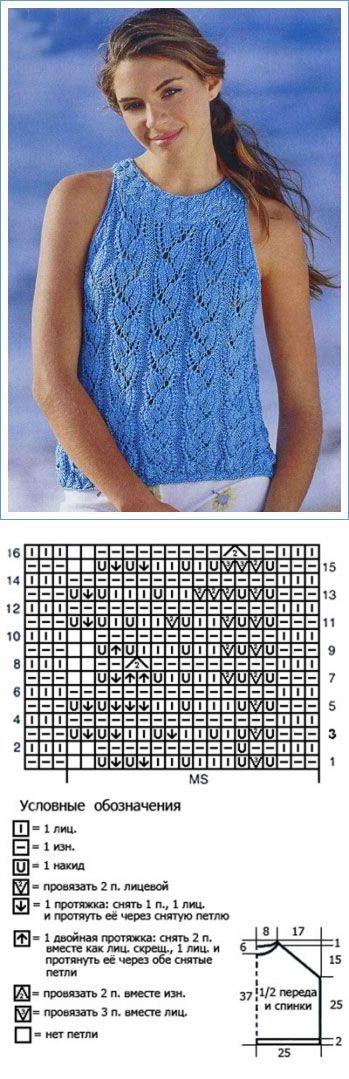 Голубой ажурный топ спицами | каталог вязаных спицами узоров...♥ Deniz ♥