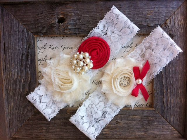 SALE Red Wedding Garter Red Vintage Wedding by SimplyKateGrace, $19.99
