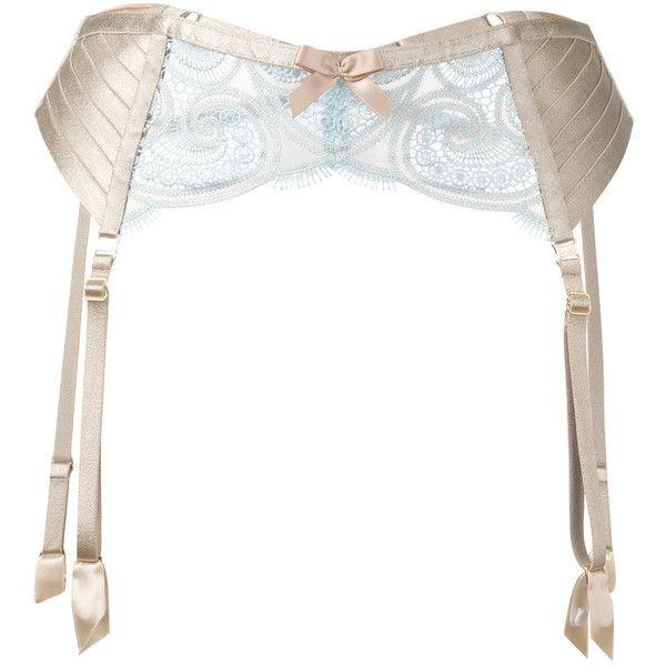 Bordelle Suspenders Belt ($215) ❤ liked on Polyvore featuring intimates, garter belt, nude lingerie, suspender belt and bordelle