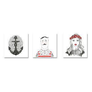 Set di quadri su tela Wave in legno bianco e grigio  40 x 2,5 x 40 cm