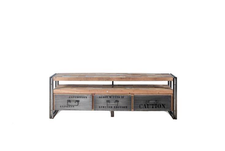 Έπιπλο τηλεόρασης Samudra (112x40x55) με 2 συρτάρια κατασκευασμένα από αποσυναρμολογημένα σκάφη ξύλου και σιδήρου.