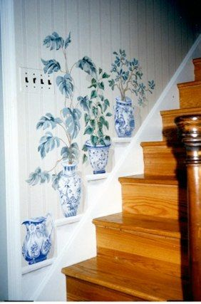 Trompe l'Oeil–Carol Nagel. A great way to make a stair wall more decorative