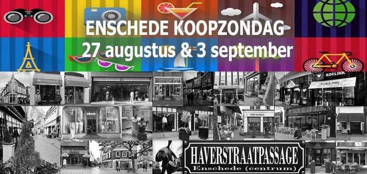 KOOPZONDAG ENSCHEDE 27 augustus en 3 september 2017 – Ook in de vakantie kunt u leuke verrassingen tegenkomen in de #Haverstraatpassage #Enschede centrum