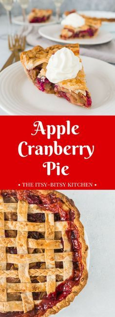 Apple cranberry pie is a delicious dessert perfect for Thanksgiving or any winter holiday! recipe via itsybitsykitchen.com #Thanksgiving #Christmas #pie