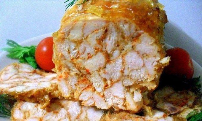 Mramorová kuřecí roláda (šunka) s chutí česneku