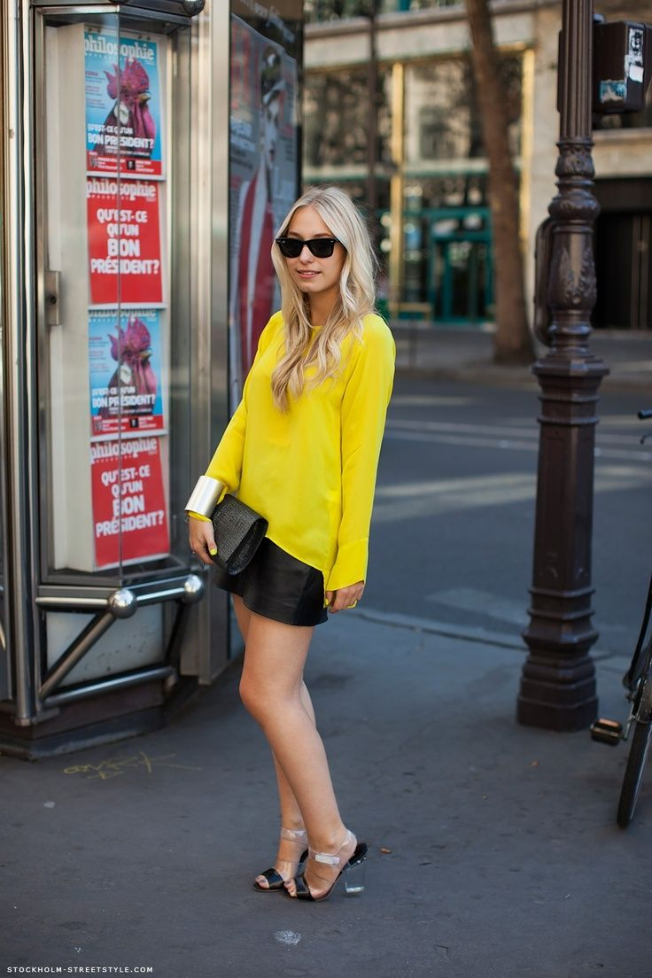 that neon yellow top and black leather shorts. YES! StockholmStreetStyle