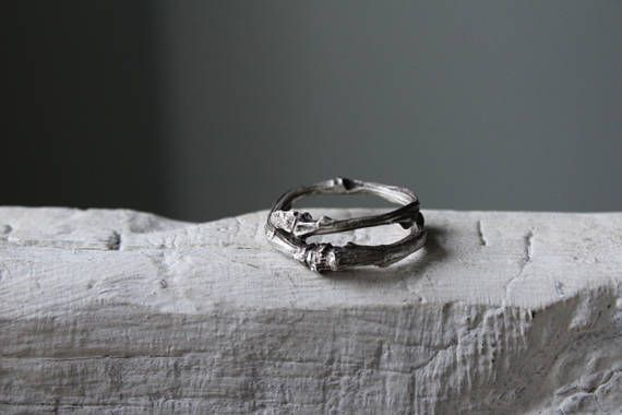 Twig Ring -Silver Stacking Ring -Woodland Jewelry -Double Branch Ring-Wedding Band Ring -Rustic Wedding Ring  A thick Sterling silver twig ring made from a real twig using the lost wax method, an ancient technique (http://en.wikipedia.org/wiki/Lost-wax_casting)  You can choose it as wedding