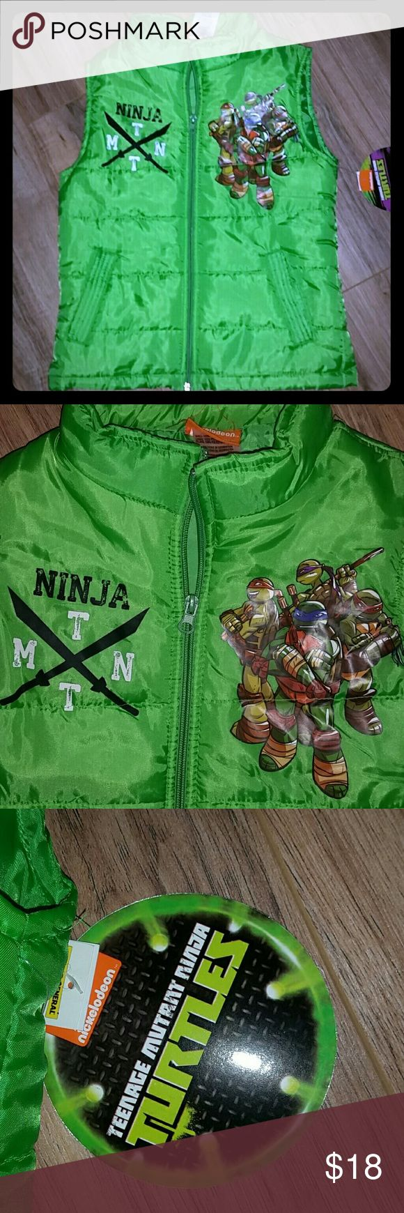 Nwt sz 7 puffy vest jacket Teenage Mutant ninja Teenage Mutant ninja turtles vest zipper jacket. Size 7 boys. Front pockets. Great for Fall. Nickelodeon Jackets & Coats Puffers