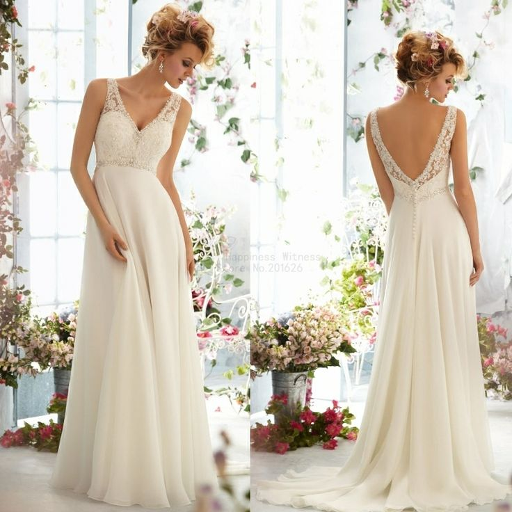 Free Shipping ! New Arrival V-neck Sleeveless Chiffon Beading Beach Wedding Dresses 2014 $219.20