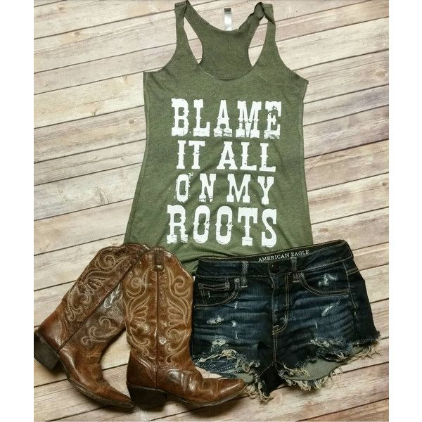 Blame It All on My Roots (Distressed) Tri-Blend Tank Shirt ($24) ❤ liked on Polyvore featuring tops, grey, women's clothing, racer back tank, racerback tank, gray shirt, racerback shirt and grey racerback tank