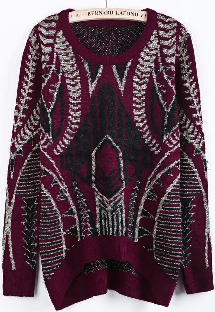 Red Black Long Sleeve Metallic Yoke Sweater EUR€24.13