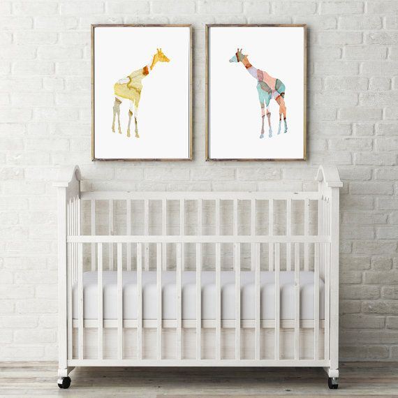 Set van 2 Giraffe Aquarel Prints  Dier door Lemonillustrations