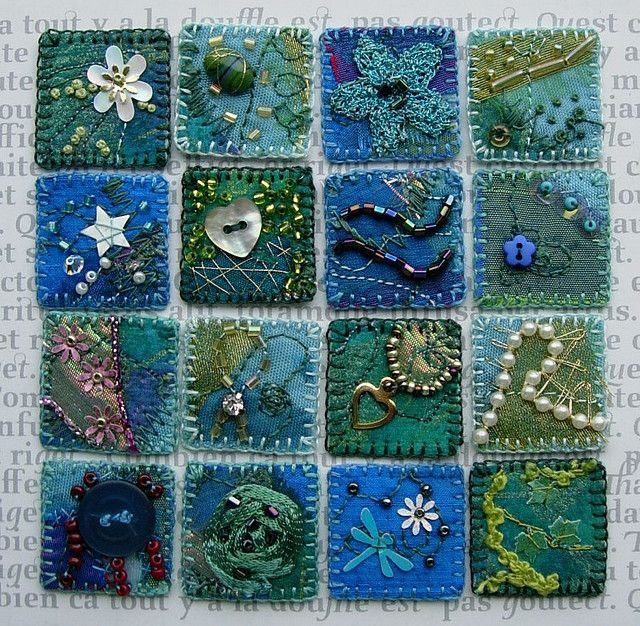 Blue and green inchies by Yvonne Moxon. Machine stitched & hand embroidered and embellished.