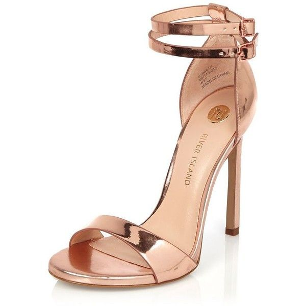 River Island Rose gold tone double strap heels ($72) ❤ liked on Polyvore featuring shoes, river island shoes, ankle strap shoes, rosette shoes, high heel shoes and rose shoes