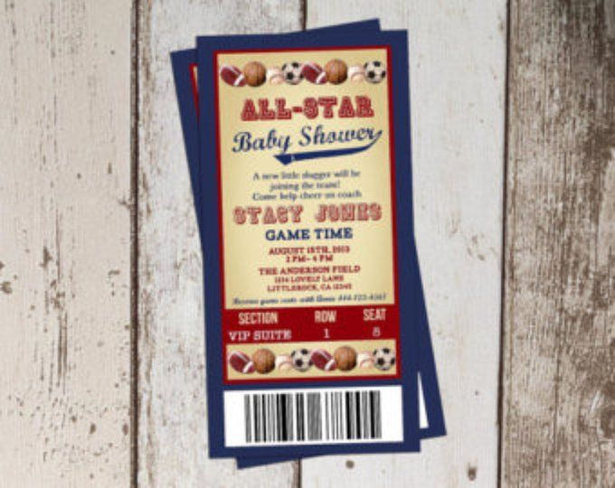 sports ticket invitation all star baby shower printable invitation
