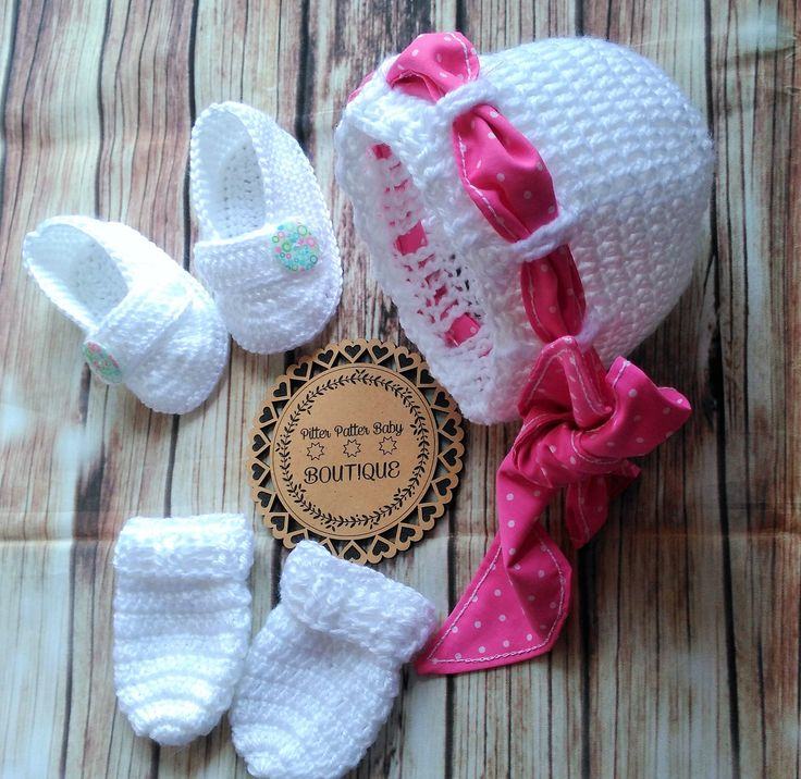 Crochet Beanie, White Baby Beanie, Scratch Proof Mittens, BabIes White Crochet Button shoes, Crochet For Baby, Girls Hat, Shoes, Mittens by PPbabyboutique on Etsy