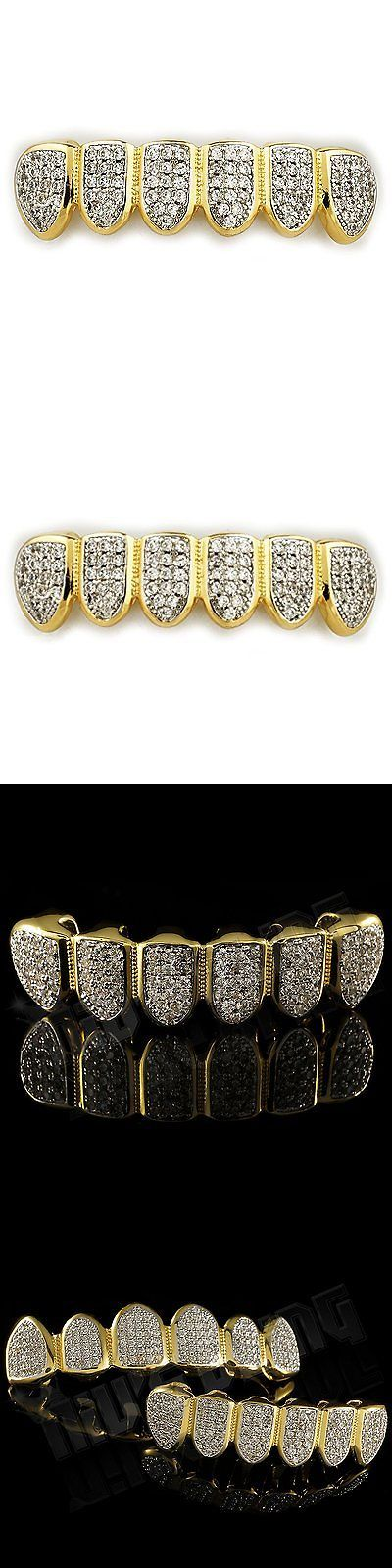Grillz Dental Grills 152808: 18K Gold Plated Cz Micro Pave Top Bottom Custom Grillz Set Rhodium Teeth Gril... -> BUY IT NOW ONLY: $54.64 on eBay!