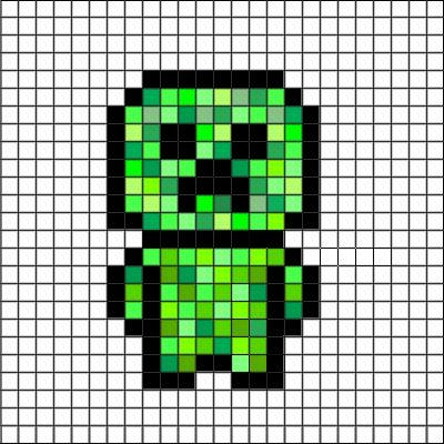 Minecraft 2D building idea. Creeper pixel art 2D building idea grid