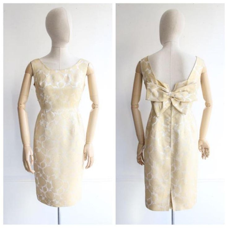 """Michaëla"" Original 1960's Gold Silk Brocade & Lurex Cocktail Dress UK 10"