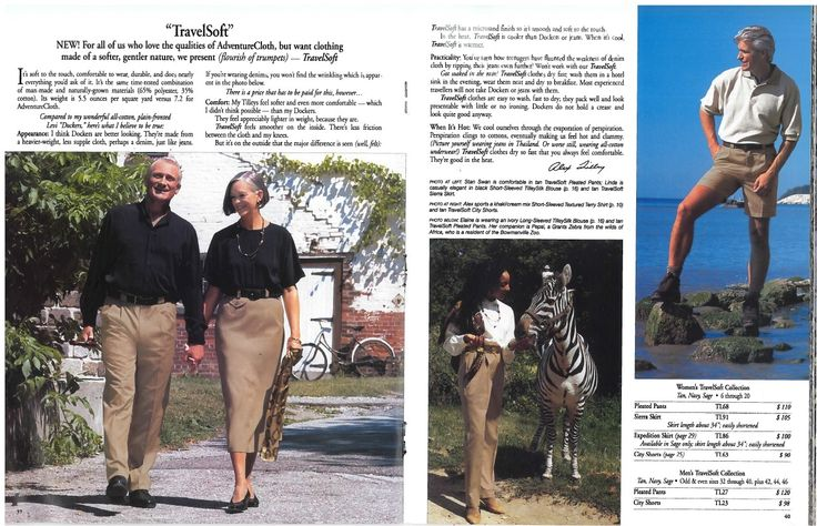 Throwback Thursday ‪#‎TBT‬ to our 'TravelSoft' adventure clothing. Nothing says adventure like zebras at the Bowmanville Zoo. Can you guess the year of this catalogue?