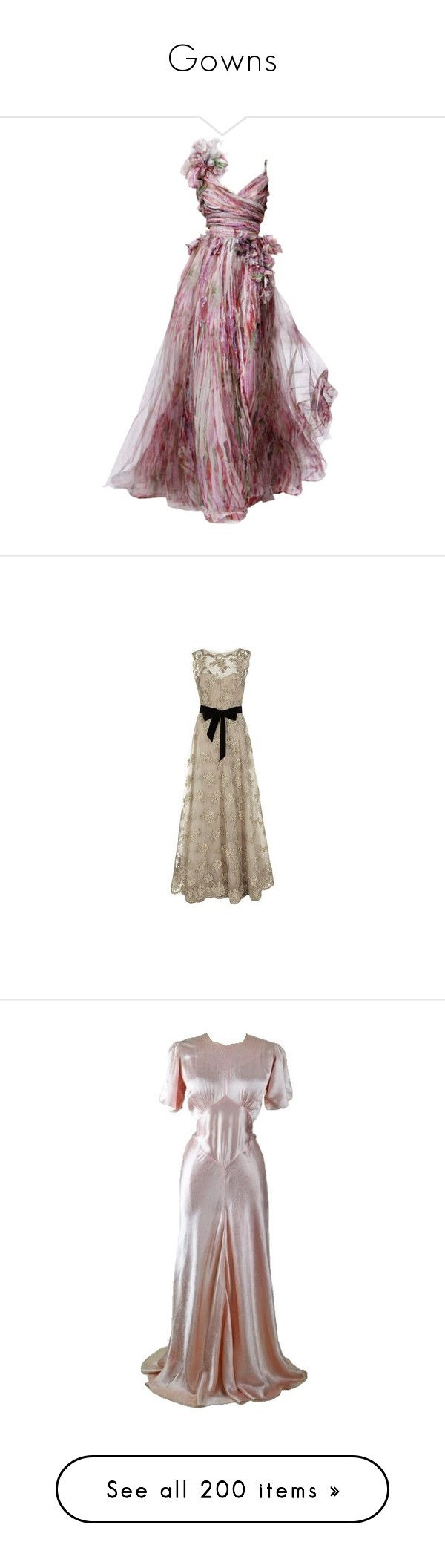 """""""Gowns"""" by stephanielee4 ❤ liked on Polyvore featuring dresses, gowns, long dress, vestidos, long dresses, brown evening gowns, vintage ball gowns, brown gown, rachel gilbert gowns and gown"""