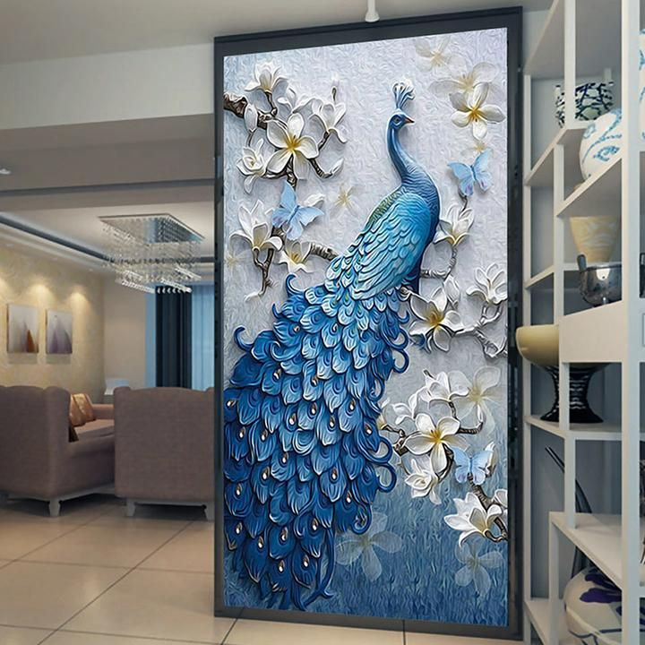 Remarkable Custom Size Peacock And Flower Entrance Mural Outdoor Download Free Architecture Designs Scobabritishbridgeorg