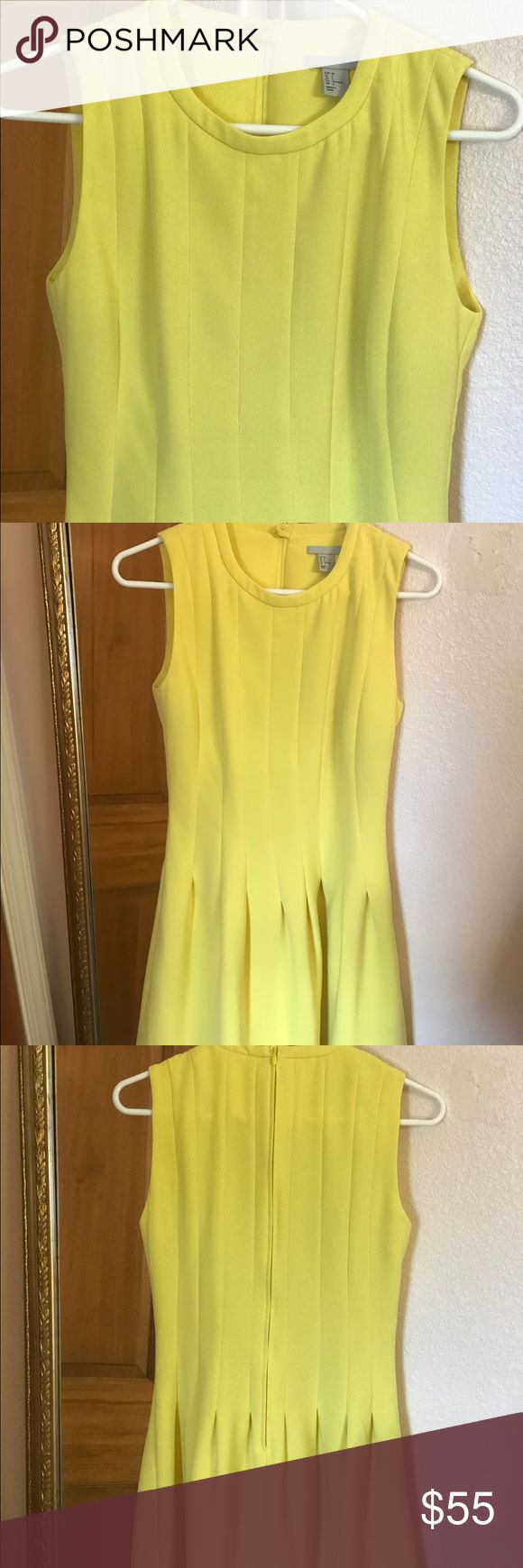 H&M Yellow Cocktail Dress Yellow is the it color this summer. This little cocktail dress is dressy enough for work and drinks after. Size 6 - fits someone with a 32 to 34 inch bust. The color is super flattering. Worn once and is in like new condition. Make me an offer! H&M Dresses