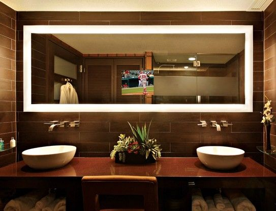 tv behind bathroom mirror backlit tv mirror has 15 4 quot lcd television installed 21060