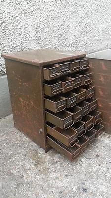 Antique Vintage Industrial Metal 24 Drawer Tools Cabinet Chest. | eBay