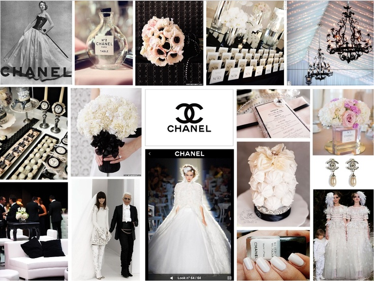 "CHANEL INSPIRED WEDDING We have dedicated a mood-board entirely to the monochrome luxury epitomised by the Chanel label and how it may be incorporated into a bridal tableau.  Chanel herself said, ""Women think of all colors except the absence of color. I have said that black has it all. White too. Their beauty is absolute. It is the perfect harmony.""  And after 100 years of building a name on this tonal relationship, we salute Chanel on a century of divine simplicity…"