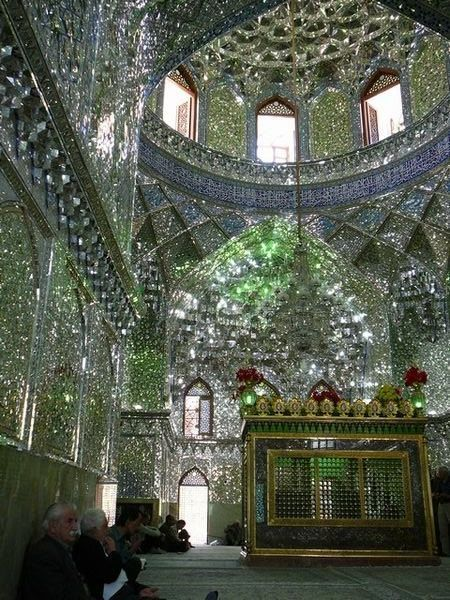 Dazzling mirrored tile interior of the Imamzadeh-ye Ali Ebn-e Hamze