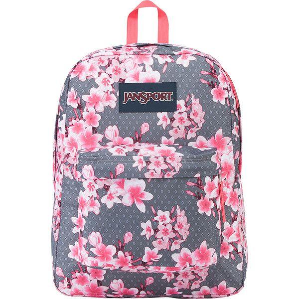 JanSport SuperBreak Backpack - Diamond Plumeria Pink - School... (49 CAD) ❤ liked on Polyvore featuring bags, backpacks, pink, jansport daypack, jansport bags, pink backpack, jansport and padded backpack