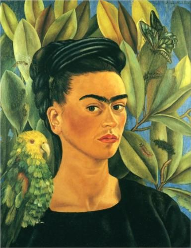 Frida Khalo - Self Portrait with Bonito. Love her work...but I really want to take some tweezers to that unibrow!!! | Wherever I live, I must have Khalo. Will forever remind me of one of my best friends
