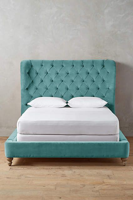 Velvet Tufted Wingback Bed - anthropologie.com