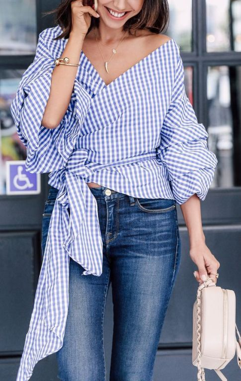 Blue Gingham blouse- Stripes and embroidery outfit ideas – Just Trendy Girls