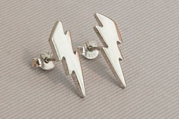 Lightning studs 925 sterling silver Gold post