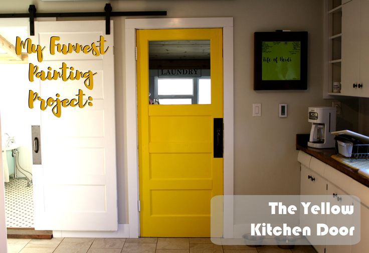I love, LOVE my mustard yellow kitchen door. As you can see, the kitchen was in rough shape when we bought our 1927 fixer-upper. I think this may have...