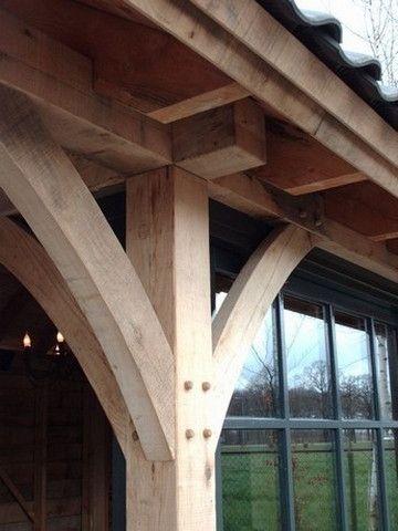 landelijke terrasoverkapping in hout | Tekening van een eiken overkapping met hardstenen poeren met kachel en ...