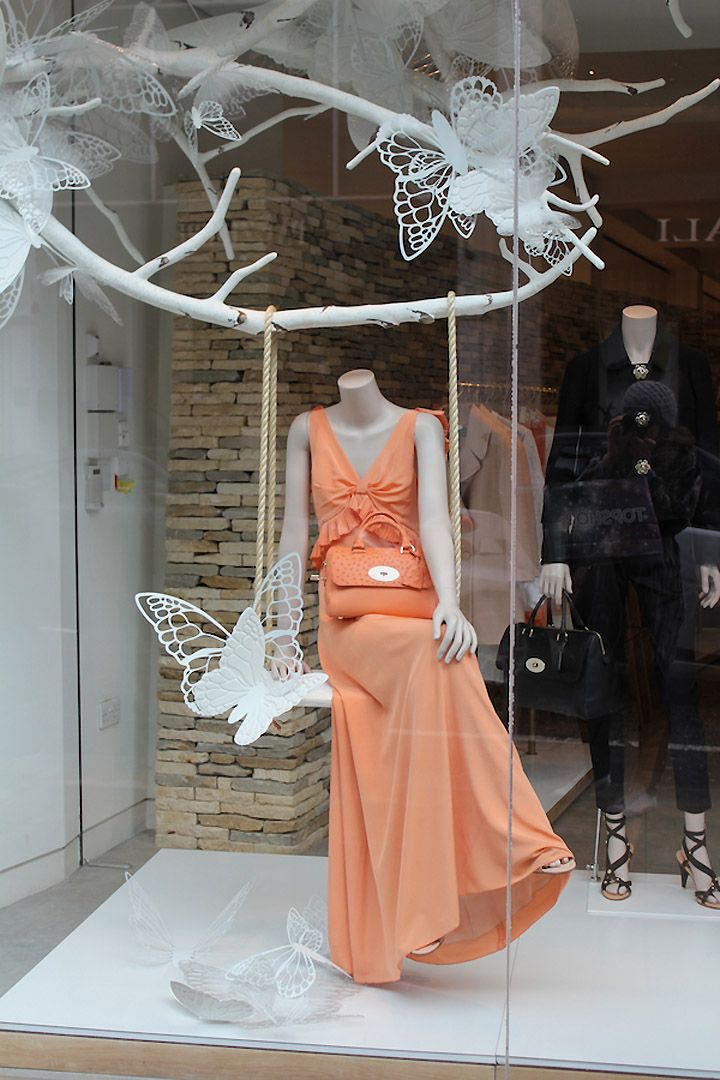 Mulberry butterflies windows Spring 2013, London visual merchandising