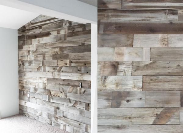 Discussion on how to hang reclaimed wood walls. Plywood underlayer seems to be the solution of choice.