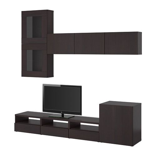 best tv storage combination glass doors vara black. Black Bedroom Furniture Sets. Home Design Ideas